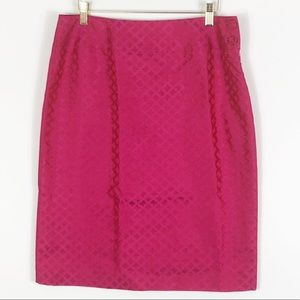 Rena Lange Pink / Red Butterfly Skirt Size 10 NWT